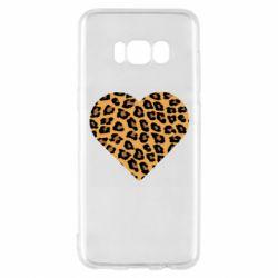 Чехол для Samsung S8 Heart with leopard hair