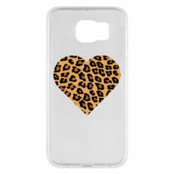 Чехол для Samsung S6 Heart with leopard hair