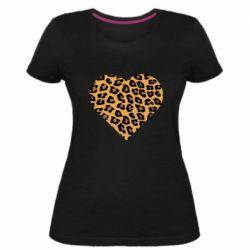 Женская стрейчевая футболка Heart with leopard hair