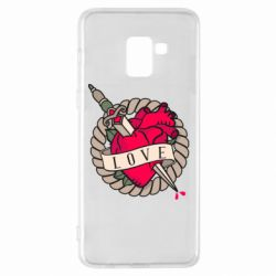 Чехол для Samsung A8+ 2018 Heart with sword