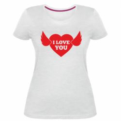 Жіноча стрейчева футболка Heart with wings