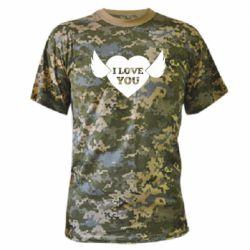 Камуфляжна футболка Heart with wings