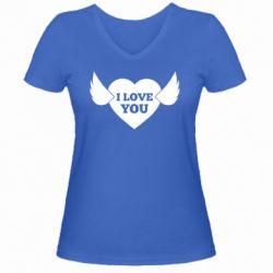 Жіноча футболка з V-подібним вирізом Heart with wings