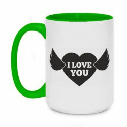 Кружка двоколірна 420ml Heart with wings