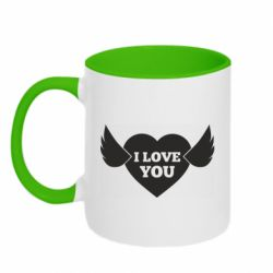 Кружка двоколірна 320ml Heart with wings