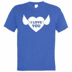 Чоловіча футболка з V-подібним вирізом Heart with wings