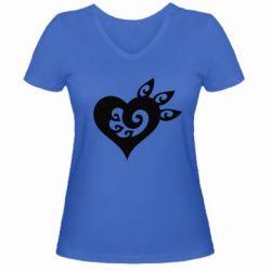 Купить 14 Февраля, Женская футболка с V-образным вырезом Heart, FatLine