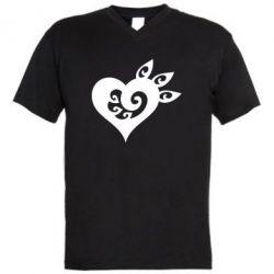 Купить 14 Февраля, Мужская футболка с V-образным вырезом Heart, FatLine