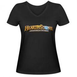 Жіноча футболка з V-подібним вирізом Hearthstone logotip