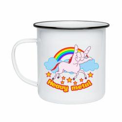 Кружка емальована Heavy metal unicorn