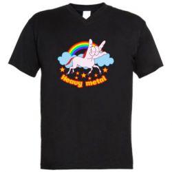 Чоловіча футболка з V-подібним вирізом Heavy metal unicorn