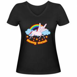 Жіноча футболка з V-подібним вирізом Heavy metal unicorn