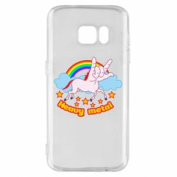 Чехол для Samsung S7 Heavy metal unicorn