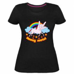 Жіноча стрейчева футболка Heavy metal unicorn