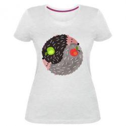 Жіноча стрейчева футболка Hedgehogs yin-yang