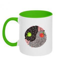 Кружка двоколірна 320ml Hedgehogs yin-yang