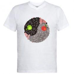 Чоловіча футболка з V-подібним вирізом Hedgehogs yin-yang