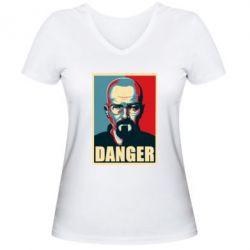 Женская футболка с V-образным вырезом Heisenberg Danger - FatLine