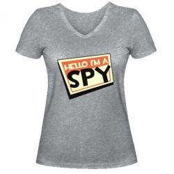 Жіноча футболка з V-подібним вирізом Hello i'm a spy