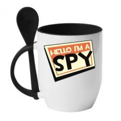 Кружка з керамічною ложкою Hello i'm a spy