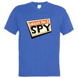Чоловіча футболка з V-подібним вирізом Hello i'm a spy