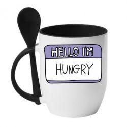 Купить Кружка с керамической ложкой Hello, I'm hungry, FatLine