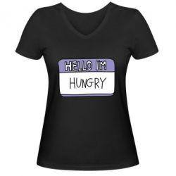 Жіноча футболка з V-подібним вирізом Hello, I'm hungry