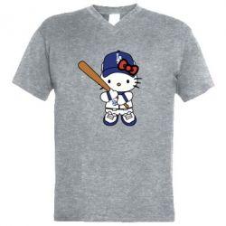 Чоловіча футболка з V-подібним вирізом Hello Kitty baseball