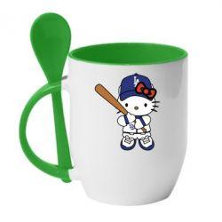 Кружка з керамічною ложкою Hello Kitty baseball
