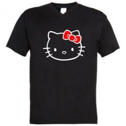 Мужская футболка  с V-образным вырезом Hello Kitty logo - FatLine