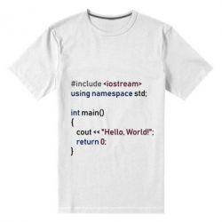 Чоловіча стрейчева футболка Hello world code
