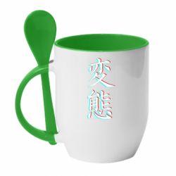 Кружка с керамической ложкой HENTAI JAPAN GLITCH