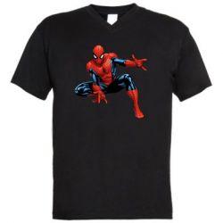 Мужская футболка  с V-образным вырезом Hero Spiderman