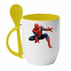 Кружка з керамічною ложкою Hero Spiderman