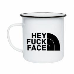Кружка емальована Hey fuck face