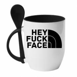 Кружка з керамічною ложкою Hey fuck face