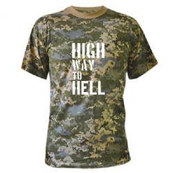 Камуфляжная футболка High way to hell