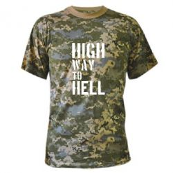 Камуфляжная футболка High way to hell - FatLine
