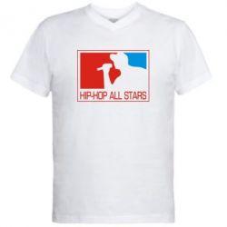 Мужская футболка  с V-образным вырезом Hip-hop all stars - FatLine
