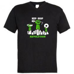 Мужская футболка  с V-образным вырезом Hip-hop revolution - FatLine