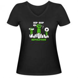 Женская футболка с V-образным вырезом Hip-hop revolution - FatLine
