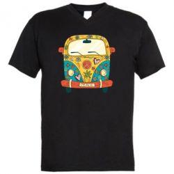 Чоловіча футболка з V-подібним вирізом Hippie bus