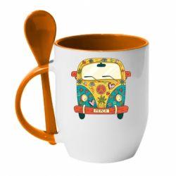 Кружка з керамічною ложкою Hippie bus