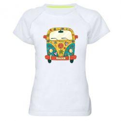 Жіноча спортивна футболка Hippie bus