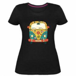 Жіноча стрейчева футболка Hippie bus