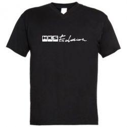 Мужская футболка  с V-образным вырезом HKS logo - FatLine