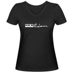 Женская футболка с V-образным вырезом HKS logo - FatLine
