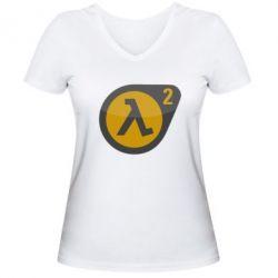 Женская футболка с V-образным вырезом HL 2 logo