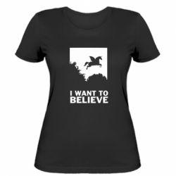 Жіноча футболка Хочу вірити в єдинорогів