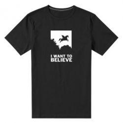 Чоловіча стрейчева футболка Хочу вірити в єдинорогів
